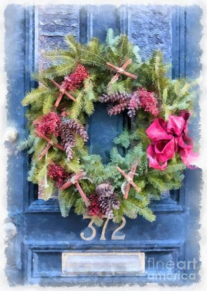 Wall Art - Painting - Christmas Wreath Watercolor by Edward Fielding
