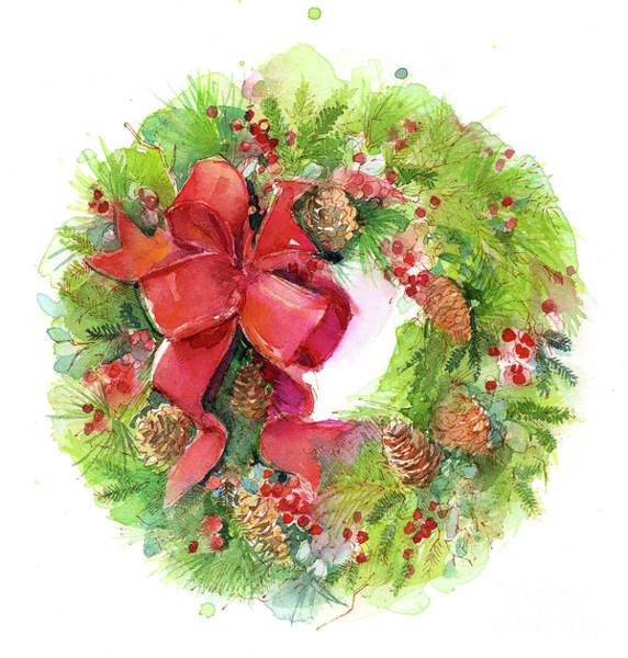 Wall Art - Painting - Christmas Wreath With Red Bow by John Keeling