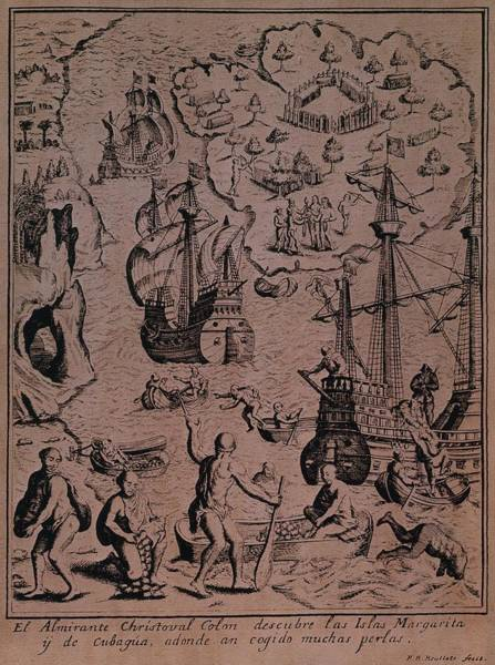South Island Drawing - Christopher Colombus Discovering The Islands Of Margarita And Cubagua Where They Found Many Pearls by Spanish School
