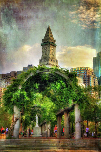 Boston North End Wall Art - Photograph - Christopher Columbus Park And The Custom House - Boston by Joann Vitali