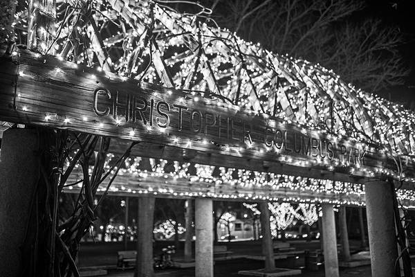 Photograph - Christopher Columbus Park Trellis Lit Up For Christmas Boston Ma Xmas Black And White by Toby McGuire