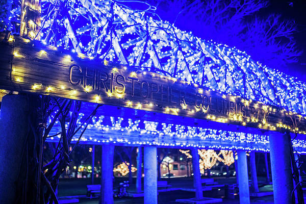 Photograph - Christopher Columbus Park Trellis Lit Up For Christmas Boston Ma Xmas by Toby McGuire