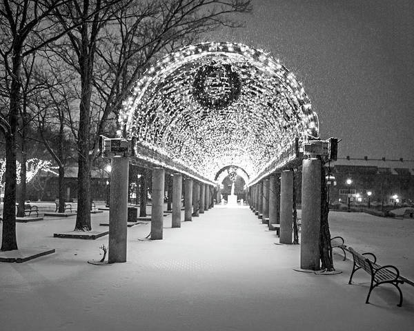 Photograph - Christopher Columbus Park Trellis Lit Up For Christmas Snowstorm Boston Ma Black And White by Toby McGuire
