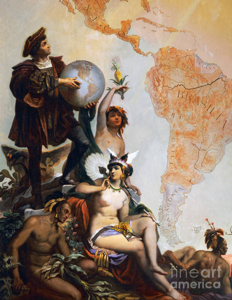Allegory Wall Art - Painting - Christopher Columbus by Peter Johann Nepomuk Geiger