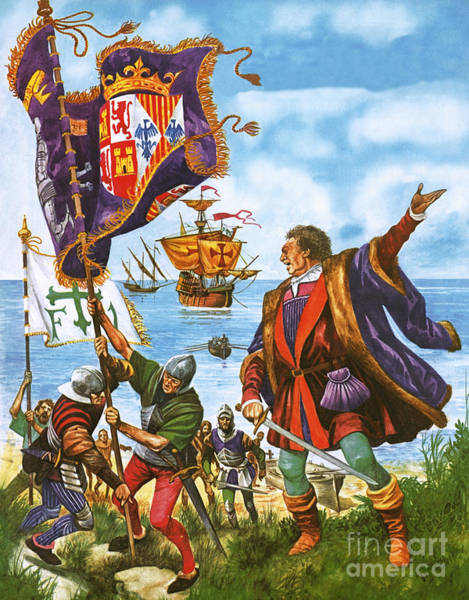 Territory Painting - Christopher Columbus Planting The Spanish Royal Standard On The Newly Found Land Of America by Peter Jackson