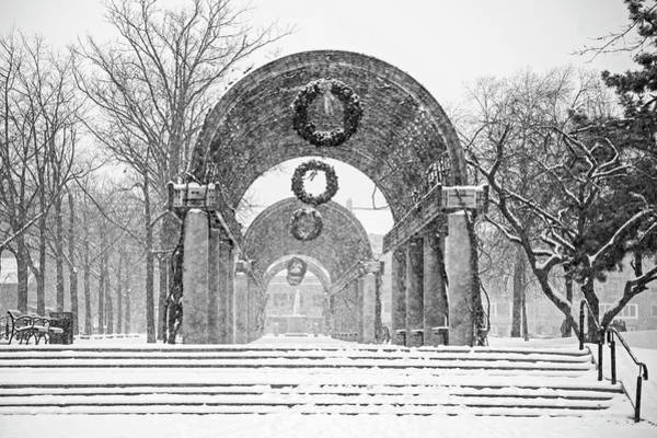 Photograph - Christopher Columbus Trellis Snowy Day Boston Ma Black And White by Toby McGuire