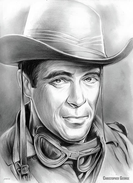 Television Drawing - Christopher George by Greg Joens
