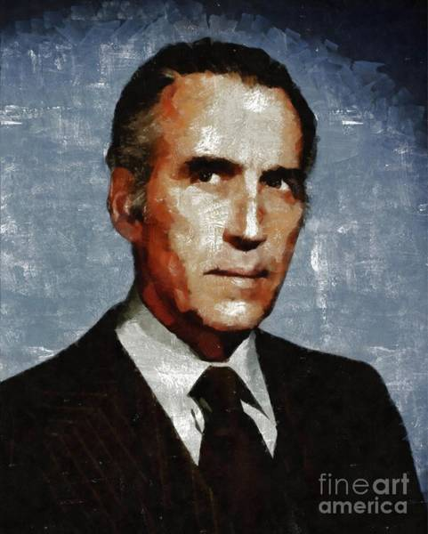 Horror Film Painting - Christopher Lee, Vintage Actor by Mary Bassett