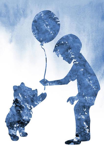 Wall Art - Digital Art - Christopher Robbin And Winnie The Pooh-blue by Erzebet S