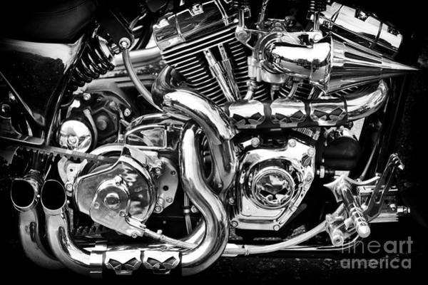 Harley Davidson Black And White Wall Art - Photograph - Chrome And Skulls by Tim Gainey