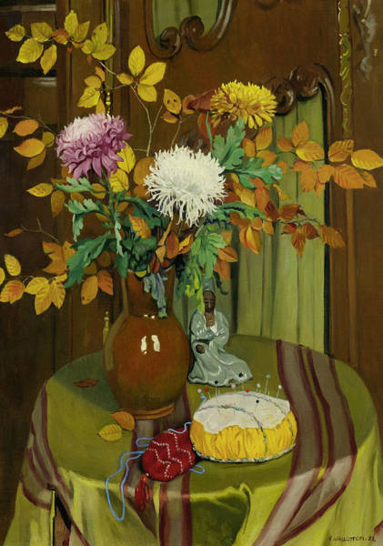 Painting - Chrysanthemum And Autumn Foliage by Felix Vallotton
