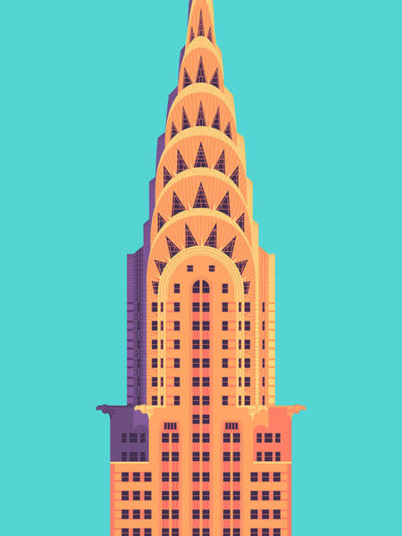 Skyscraper Digital Art - Chrysler Building - Cyan by Ivan Krpan