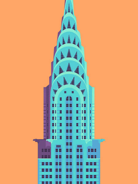 Buildings Digital Art - Chrysler Building - Orange by Ivan Krpan
