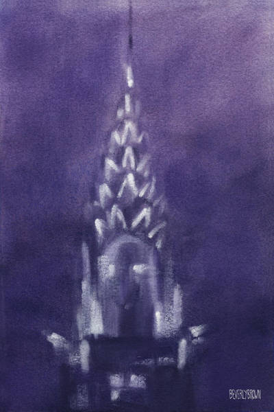 Urban Scene Painting - Chrysler Building Violet Night Sky by Beverly Brown