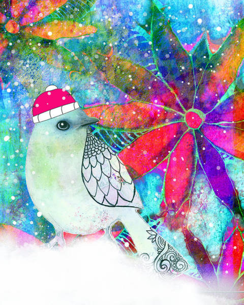 Christmas Flowers Painting - Chrystal The Snow Bird by Robin Mead