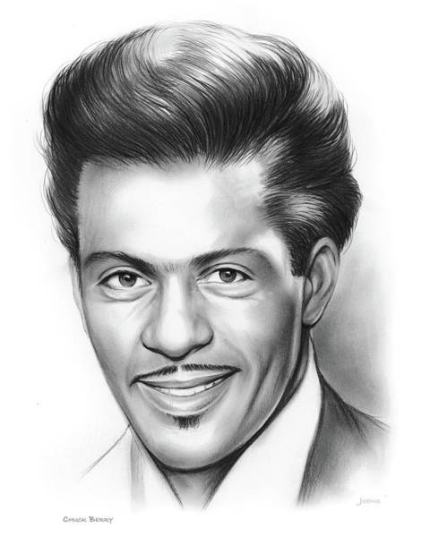Rock Music Drawing - Chuck Berry by Greg Joens