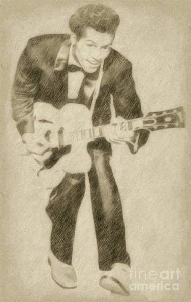 Rock Music Drawing - Chuck Berry, Rock N Roll Star by Frank Falcon