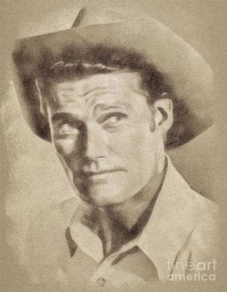 Pinewood Drawing - Chuck Connors, Vintage Actor By John Springfield by John Springfield