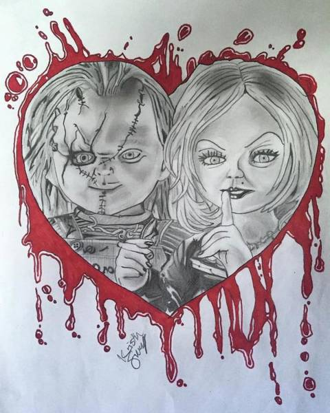 Chucky Wall Art - Drawing - Chucky And Tiffany by Kristin Salley