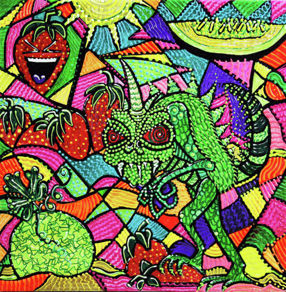 Wall Art - Painting - Chupacabra Loves Strawberry Melon by Laura Barbosa