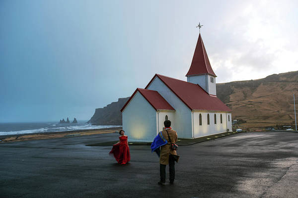 Photograph - Church Above Reynisfjara Black Sand Beach, Iceland by Dubi Roman