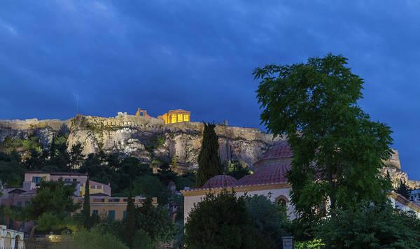 Wall Art - Photograph - Church And Acropolis Evening View From Around Roman Agora, Athen by Iordanis Pallikaras