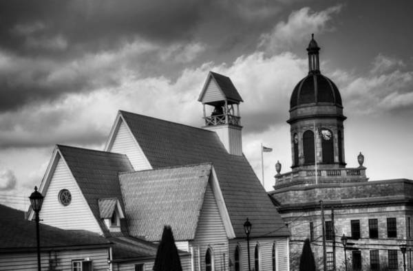 Courthouse Towers Wall Art - Photograph - Church And Courthouse In Black And White by Greg and Chrystal Mimbs