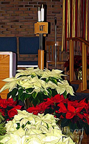 Photograph - Church Candles And Poinsettias At Christmas Expressionist Effect by Rose Santuci-Sofranko