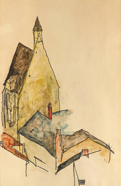 Impressionistic Landscape Drawing - Church Hospital Modling by Egon Schiele