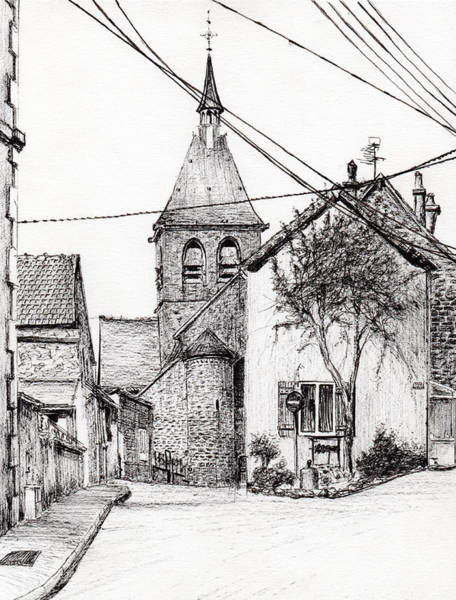 Structure Drawing - Church In Laignes by Vincent Alexander Booth