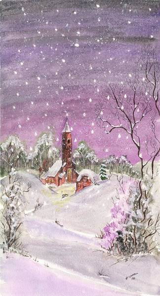 Digital Art - Church In The Snow by Darren Cannell