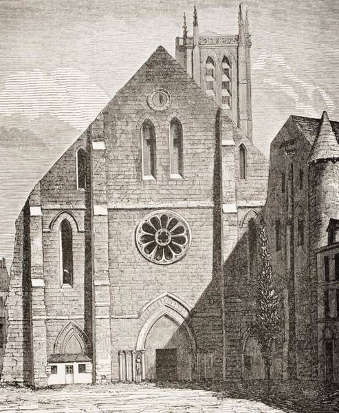 Wall Art - Drawing - Church Of Abbey Of Sainte Genevieve by Vintage Design Pics