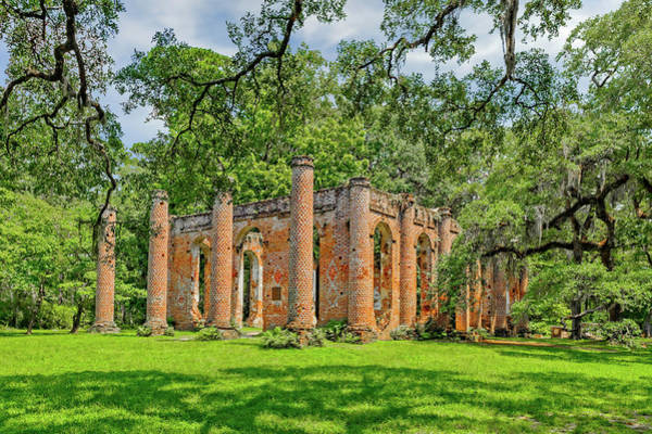 Greek Revival Architecture Photograph - Church Of Prince Williams Parish  -  Sheldonchurchruins173017a by Frank J Benz