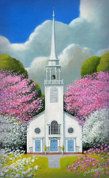 Dogwood Painting - Church Of The Dogwoods by John Deecken