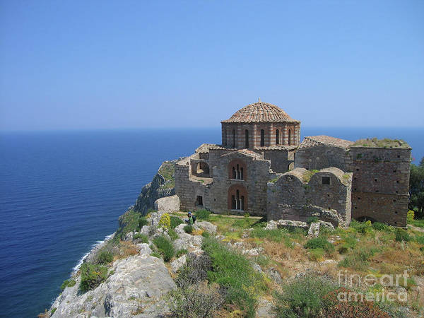 Morea Wall Art - Photograph - Church Of The Saint Of Wisdom Overlooking The Aegean Sea   by Clay Cofer