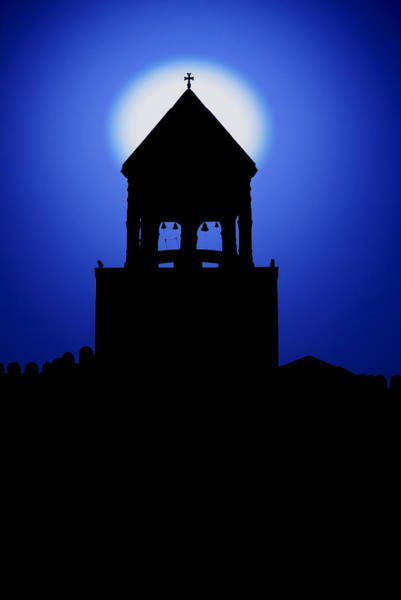 Photograph - Church Silhouette Blue by Ivan Slosar
