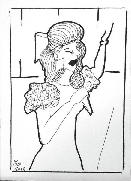 Drawing - Church Singer by Loretta Nash