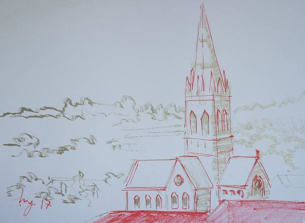 Drawing - Church Tower In Exeter Devon by Mike Jory