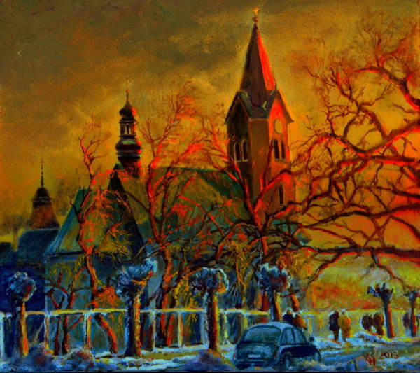 Wall Art - Painting - Church Winter Sunset by Henryk Gorecki