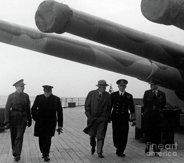 Wall Art - Photograph - Churchill Aboard The Hms Prince Of Wales, 1941 by English School