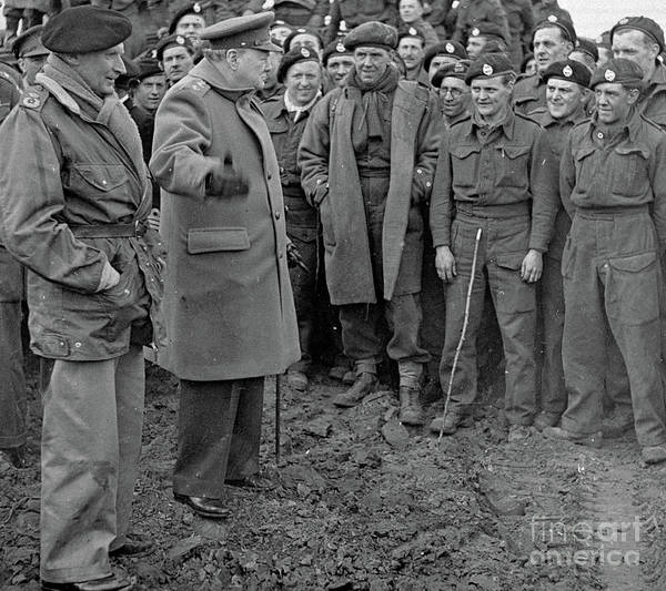 Wall Art - Photograph - Churchill And Field Marshall Bernard Montgomery Visiting Troops After The Rhine Crossings, 1945 by English School