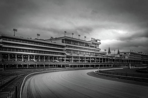 Racetrack Photograph - Churchill Downs Racetrack In Black And White by Art Spectrum