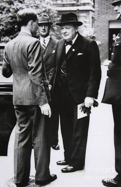 Wall Art - Photograph - Churchill Leaves Downing Street To Take King George Vi A Letter From The Us President, 1941 by English School
