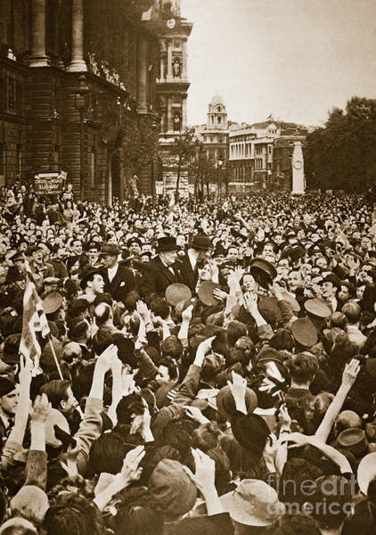 Wall Art - Photograph - Churchill Mobbed In Whitehall On Ve Day, 8th May 1945  by English School