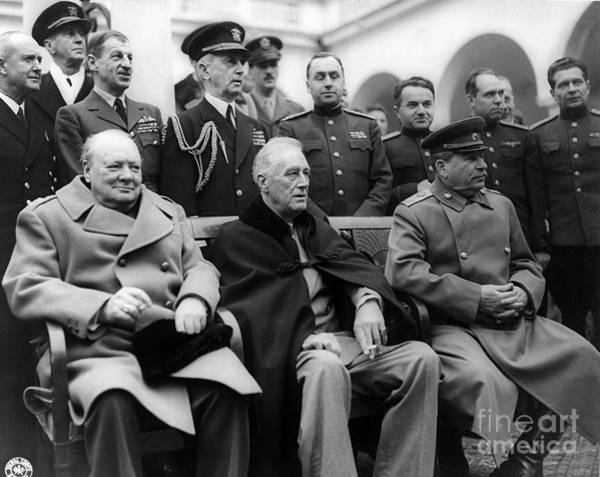 Notable Photograph - Churchill, Roosevelt And Stalin by Science Source