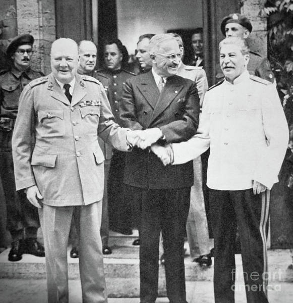 Wall Art - Photograph - Churchill, Truman And Stalin At The Potsdam Conference, July 1945 by English School