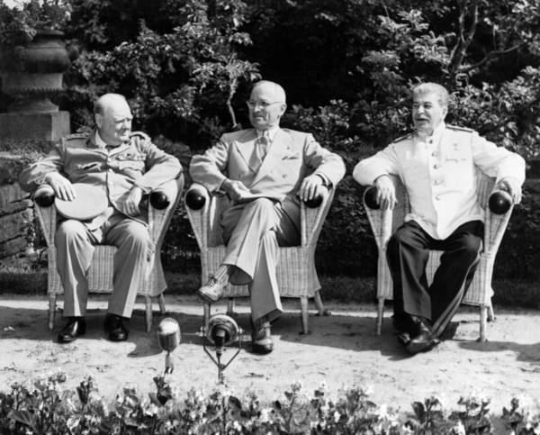 Wall Art - Photograph - Churchill, Truman, And Stalin - Potsdam Conference - 1945 by War Is Hell Store