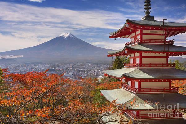 Wall Art - Photograph - Chureito Pagoda And Mount Fuji In Japan In Autumn by Sara Winter