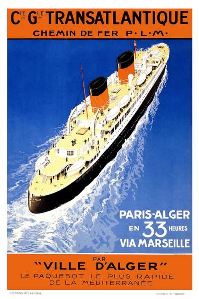 Wall Art - Mixed Media - Cie Gle Transatlantique - Par Ville D'alger - Britishers - Retro Travel Poster - Vintage Poster by Studio Grafiikka