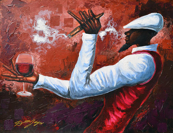 Wall Art - Painting - Cigars And Brandy by The Art of DionJa'Y